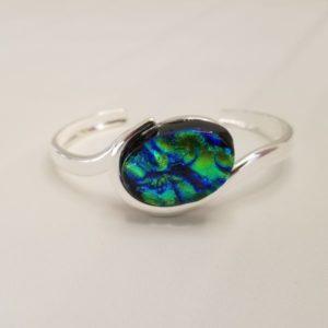 Oval Bracelet - Green Ripple