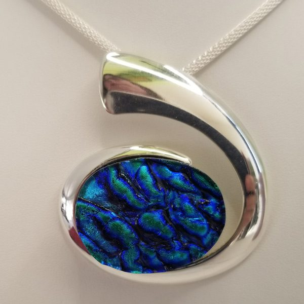 Oval Pendant Glass Fused Blue Green