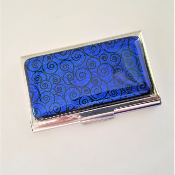 Blue Swirl Business Card Case