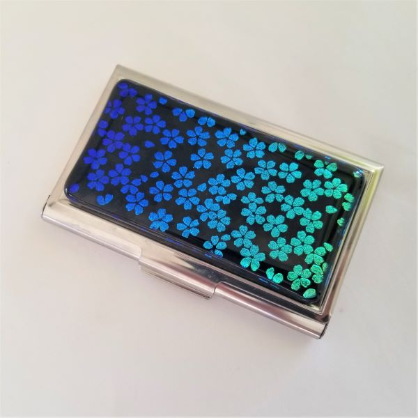 S03 Blue Blossoms Business Card Case
